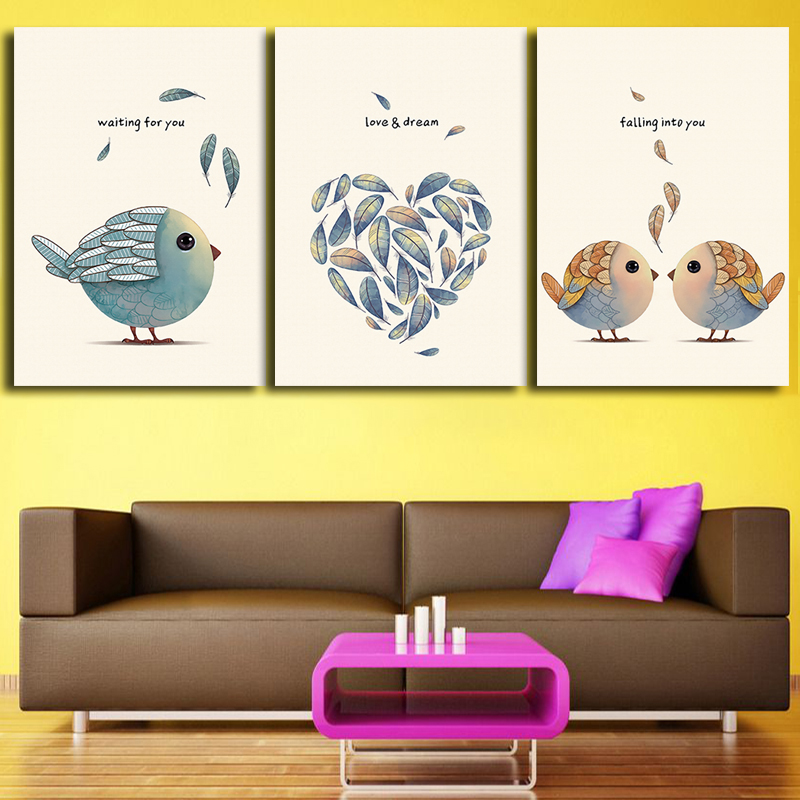 Triptych Canvas Wall Art Nordic Love Birdies Wall Decorative ...