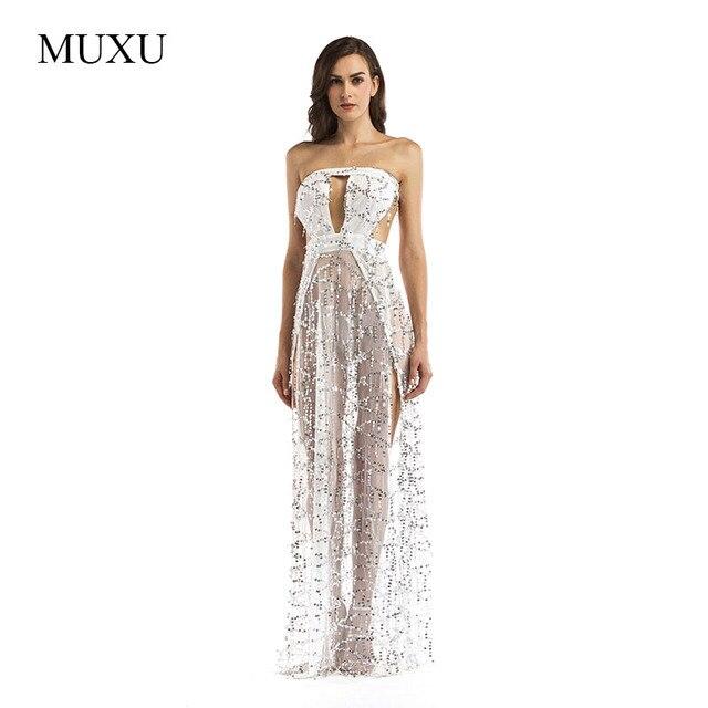 14ffbf0278 MUXU branco longo vestido de lantejoulas sexy backless vestidos mulheres  roupas de moda feminina robe longos