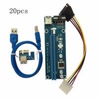 20pcs/set PCI E PCI Express 1X to 16X Extender Riser Card USB 3.0 Cable SATA to 4Pin IDE Power Cord for BTC Miner Machine