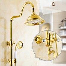 Freies verschiffen Groß-Und Einzelhandel Luxus Gold Messing Dusche Wasserhahn Set Einzigen Keramik Griff Badewanne Mixer Handbrause