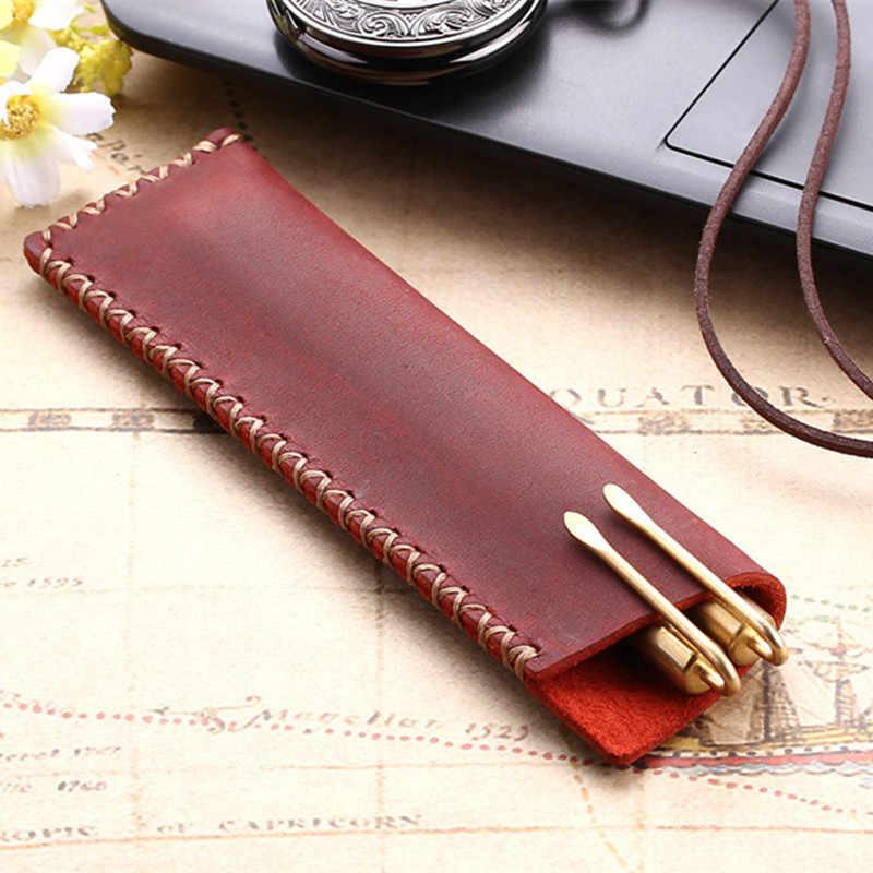 IPC جديد جلدية القلم حامل الأكياس مزدوجة حقيبة أقلام رصاص القلم كم ل نافورة/قلم حبر جاف ، السفر مذكرات القلم غطاء