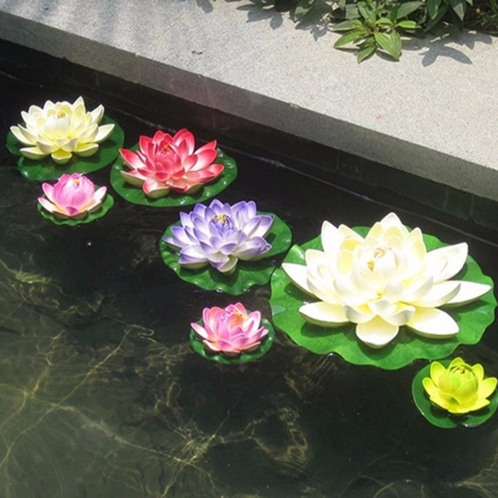 Compare prices on lotus flower pond online shoppingbuy low price 7pcslot artificial plastic flowers fake bouquet lotus for wedding garden pond decoration manualidades flores dhlflorist Images