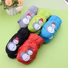 Детские зимние теплые перчатки для мальчиков и девочек, спортивные водонепроницаемые ветрозащитные Нескользящие зимние варежки, перчатки с расширенным запястьем