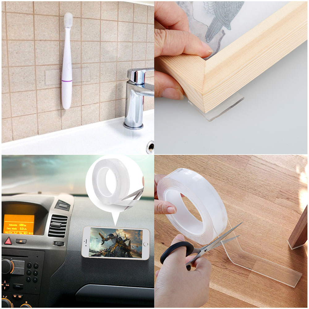 1/2mm Reusable Multifunctional Double-Sided Traceless Nano PU Gel Tape 1m Clear Transparent Acrylic Foam Washable Adhesive Tape