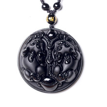 Drop Shipping Natural Black Obsidian Pendant Necklace Amulet Brave Troops Fine Crystal Jewelry For Women Men недорого