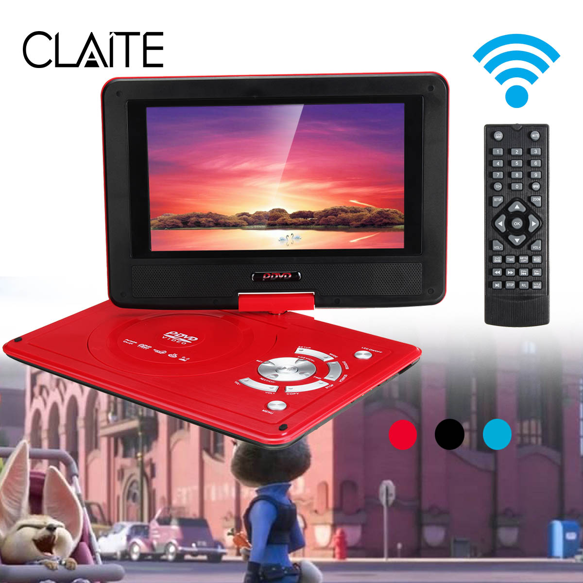 9.8 inch Portable DVD Player Digital Car Rechargeable Player With Game FM Radio TV AV Monitor Card Reader 270 Degree Screen