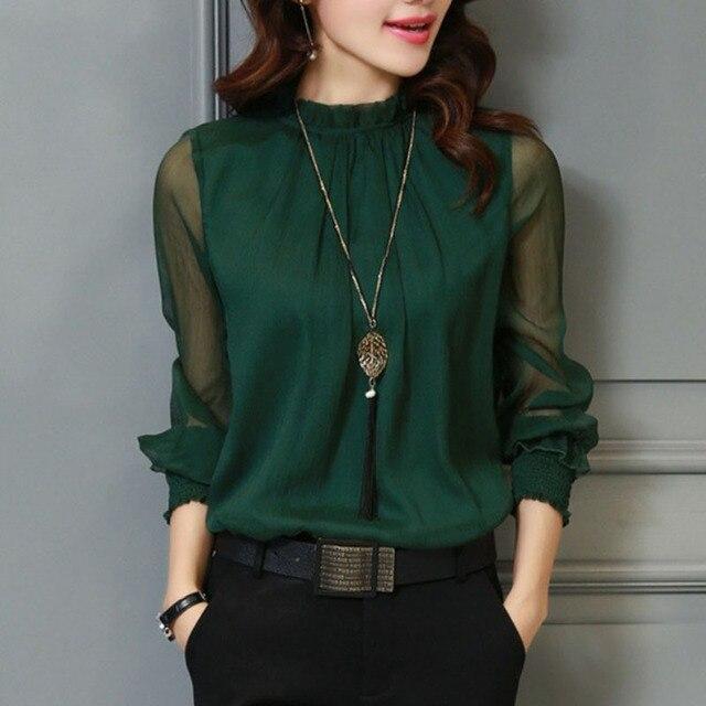 3XL женский сезон: весна–лето Кружево шифоновая рубашка плюс Размеры блузка Мода Стенд Средства ухода за кожей Шеи Рубашки для мальчиков прозрачный с длинным рукавом Блузки для малышек Топ Зеленый