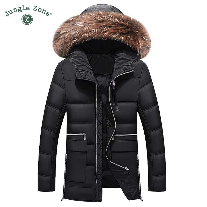 Mens Winter Thick Warm Down Jacket Casual Long Coat <font><b>White</b></font> Duck Down Jackets Collar Removable Hood jackets Men down jacket