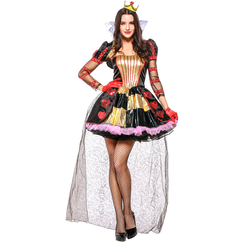 Halloween Costume for Women Red Peach Heart Queen Alice in Wonderland Game Clothes Vampire Costume with Crown+Shawl+Gloves+dress