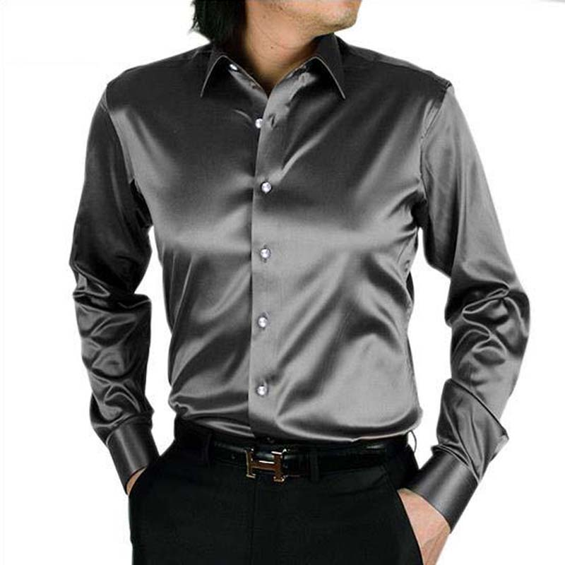 Mens Long Sleeve Shirt Casual thin Slim Fit Faux Silk Rayon New Mens Dress Shirts Wedding Tuxedo Performace Solid Mens Camisas