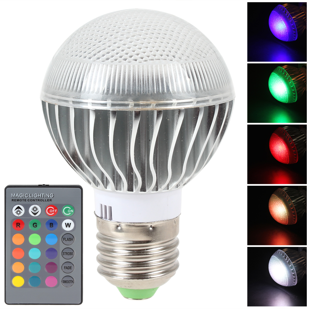 E27 3W AC 85-265V RGB LED Lihgt Bulb 16 Colors Changing 120 Degree 7020 LED Bulb Lamp Home Decoration Lighting + Remote Control led rgb globe bulb e27 e14 3w ac 85 265v 16 colors changing magic light 24key ir remote control home night lighting led bulb