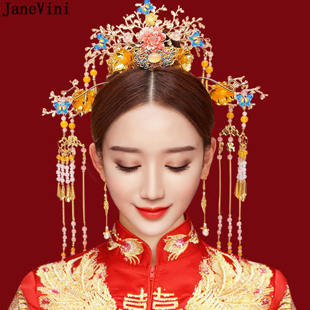 Luxury Chinese Bridal Golden Costume Headdress Vintage Hairpin Ornament Jewelry Hair Accessories