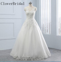 Vestido De Noiva A Line Wedding Dress Lace Sleeveless Tulle With Lace Robe De Mariee Floor