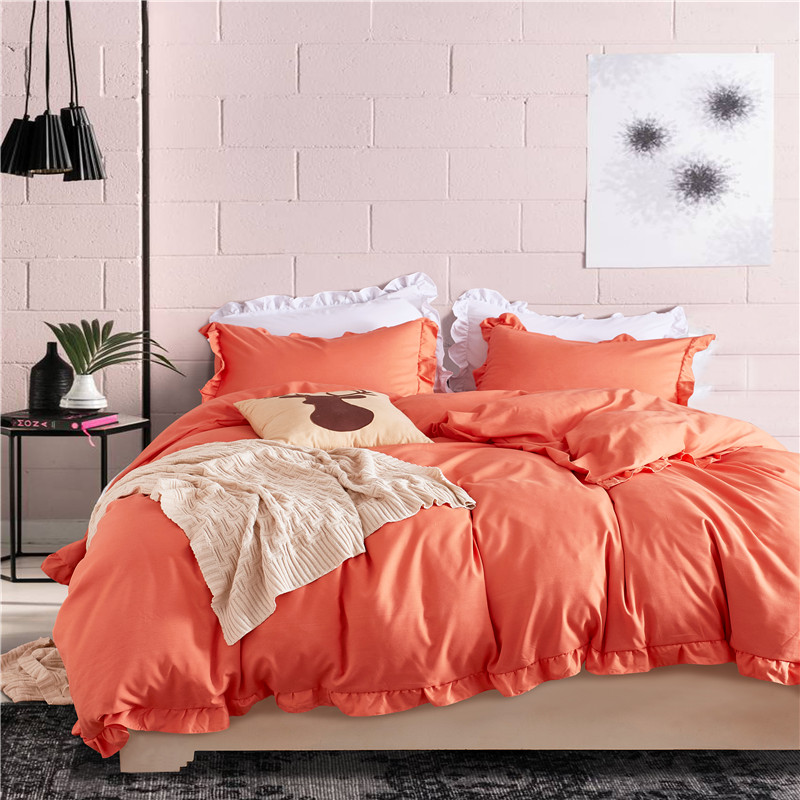 Orange Solid Color Lotus Leaf Lace Bedding Sets Duvet Cover Set 3 Piece Polyester Fabric Pillowcase USA Twin Queen King Size
