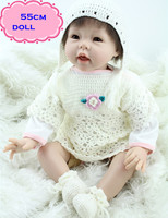 22 cal new arrival npk silikon reborn baby dolls w kolorze białym i najbardziej popularne realistyczne baby doll toys dla dziewczyny gry Partner