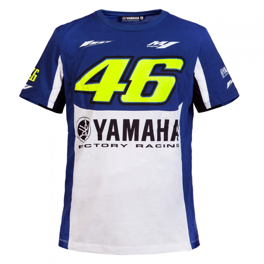 Valentino Rossi VR46 46 dual Moto GP FOR YAMAHA Monza Cotton T shirt Blue White