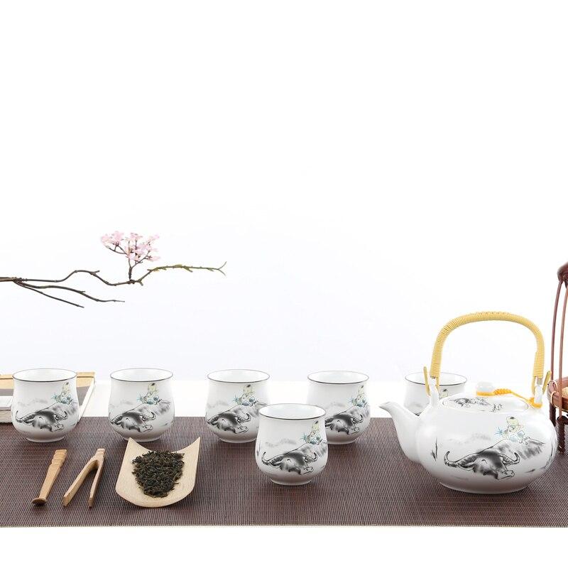 매트 화이트 도자기 쿵푸 차 세트 세라믹 주전자 매트 빔 냄비 일본 가정용 차 컵-에서티웨어 세트부터 홈 & 가든 의  그룹 1