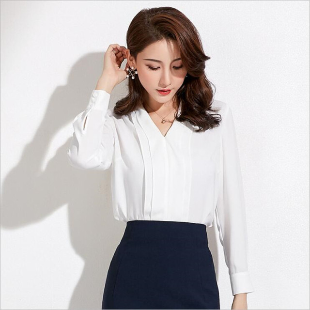 2019 Spring New Style Fashion Womens Shirt Grace Office Ladies Tops Long Sleeve V-Neck White Blouse Female Slim Chiffon Shirts