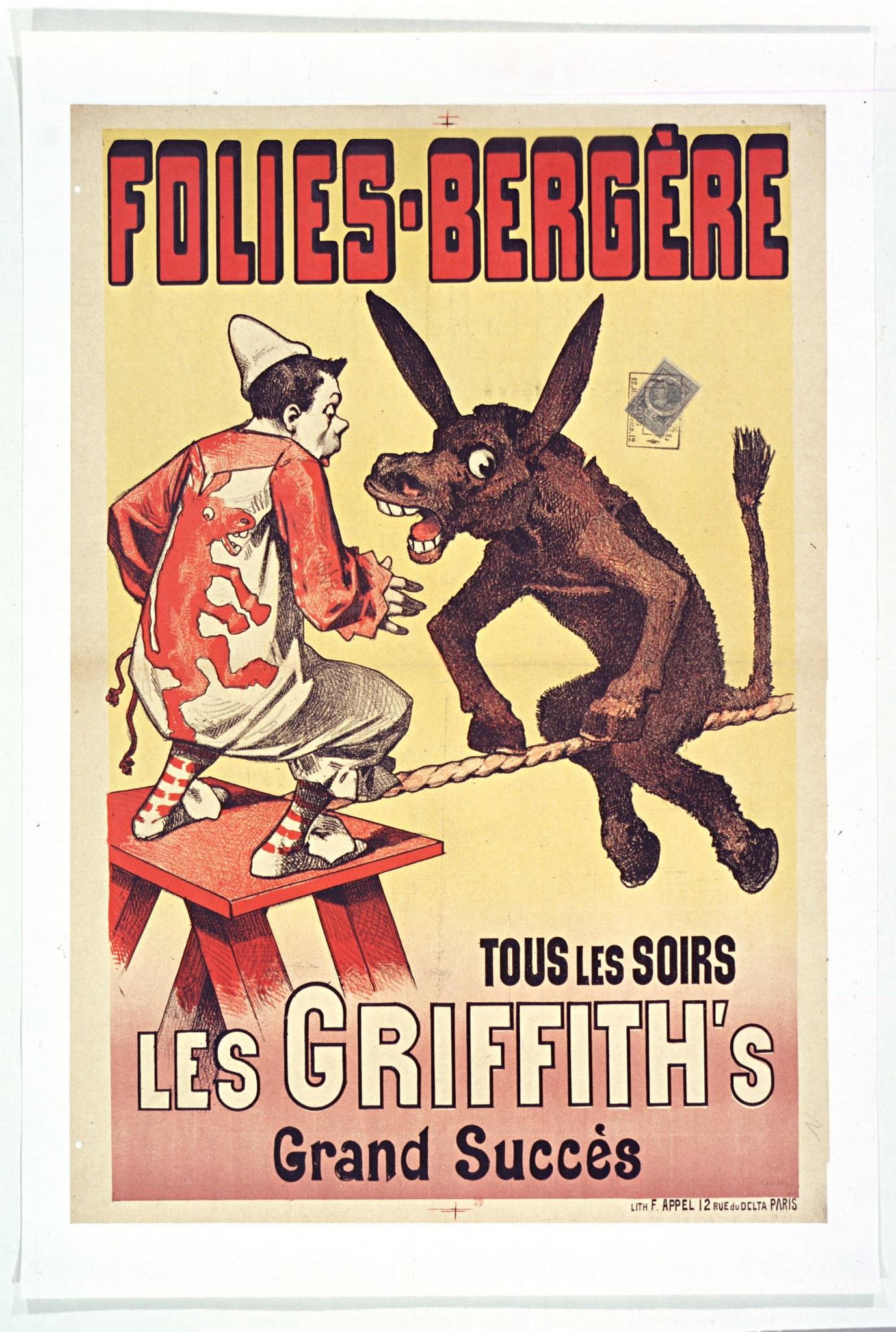 Les Folies Bergeres Circus Musical Show Les Griffith Classic Canvas ...