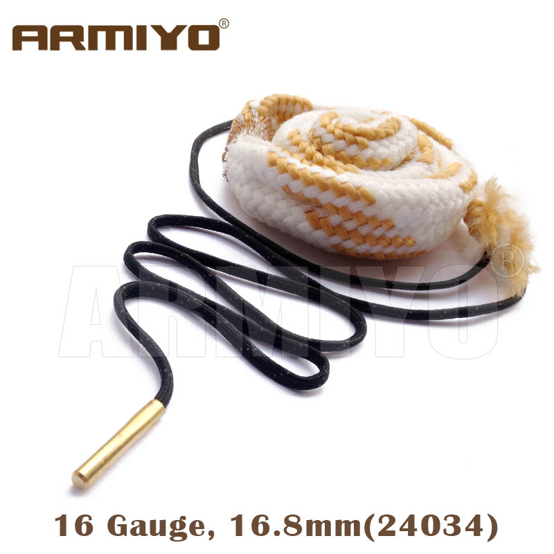 Armiyo Bore Snake 16 GA Gauge 16.8mm Gun Barrel Rope Cleaner Shooting Cleaning Kit Hunting Accessories 24034 Bagged Package