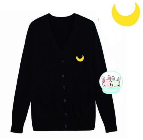 Cute Womens Japanese Uniform Sailor Moon Symbol Button up Sweater ...