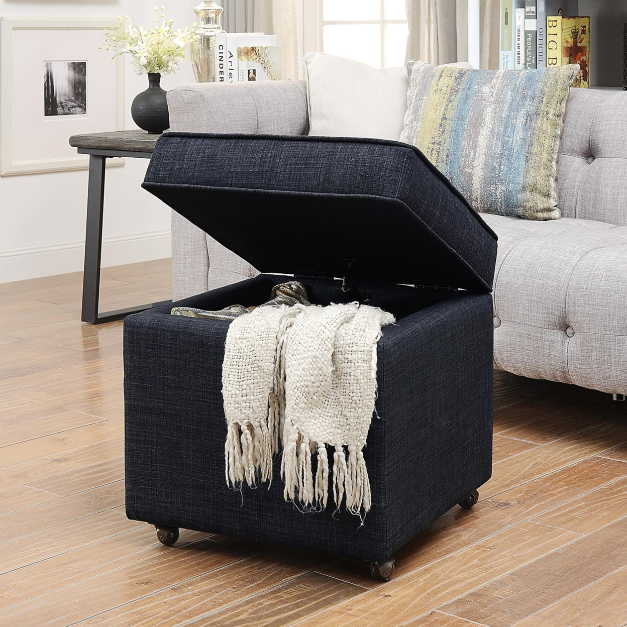 Astounding Martina Linen Or Velvet Hidden Storage Ottoman Castered Legs Ncnpc Chair Design For Home Ncnpcorg