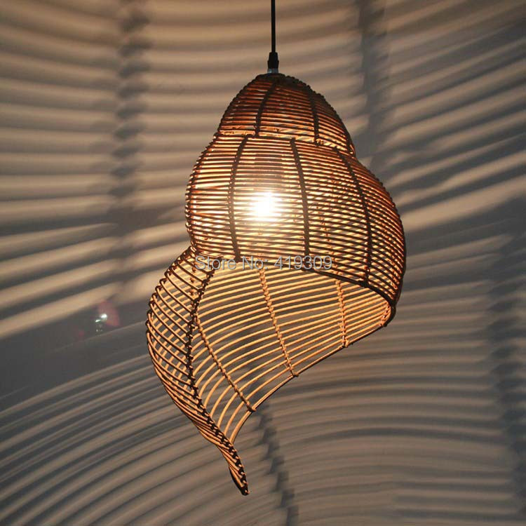Chinese Retro Escargot Rattan Bedroom Balcony Light