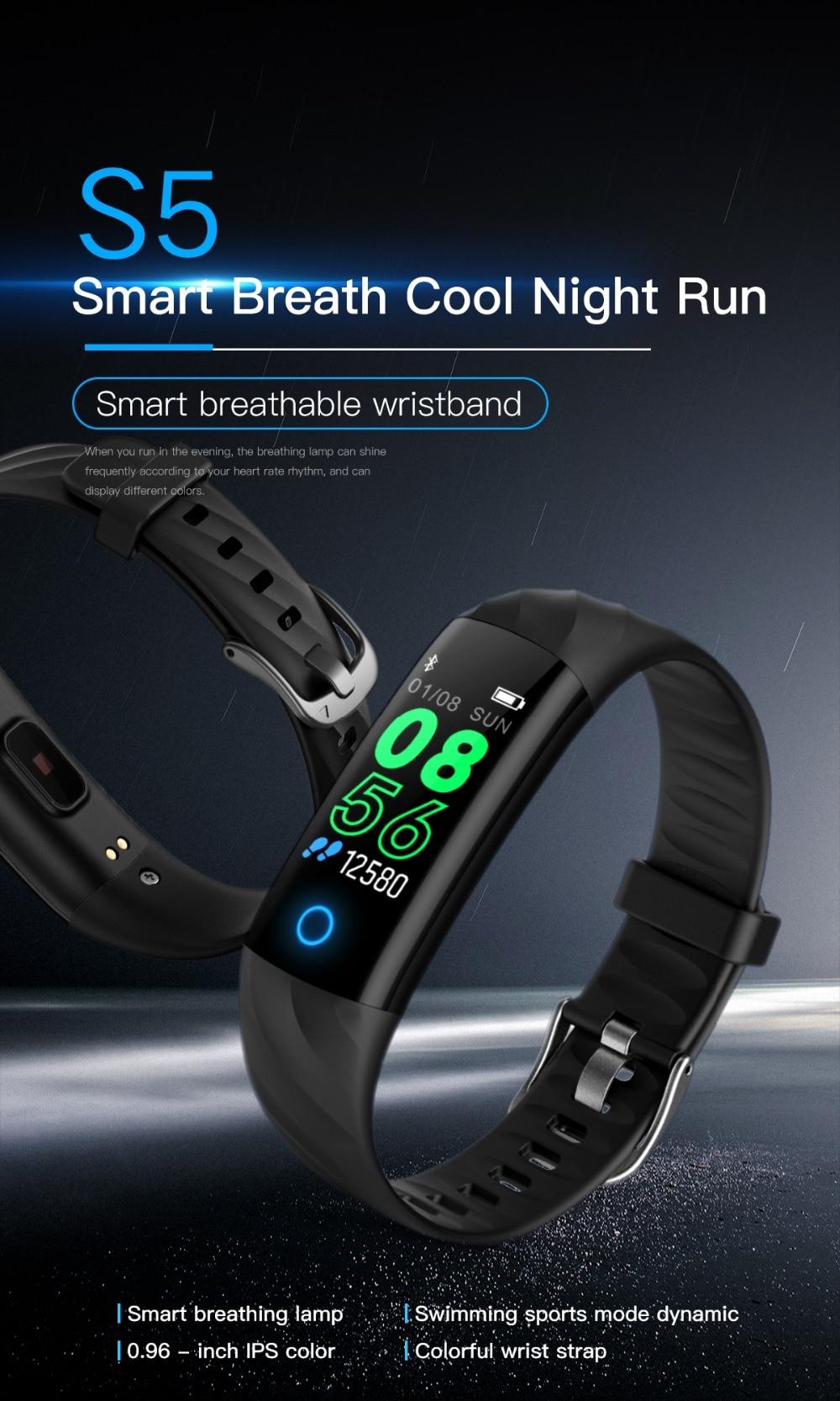 Torntisc S5 Heart Rate Fitness Bracelet IP68 Waterproof Blood pressure oxygen Monitor Color Screen Activity Tracker Smart Band Watch (1)