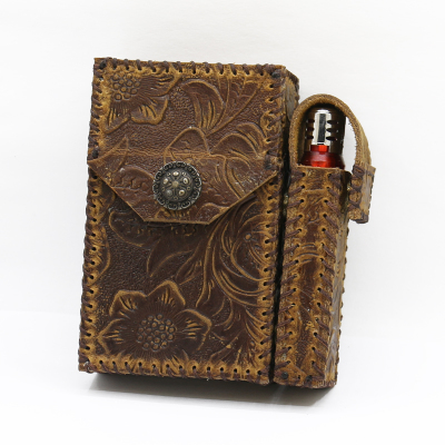 20 Sticks Tang Grass Leather Cigarette Case Personalized Cowhide Bag With Detachable Lighter Set Retro Gadgets For Men