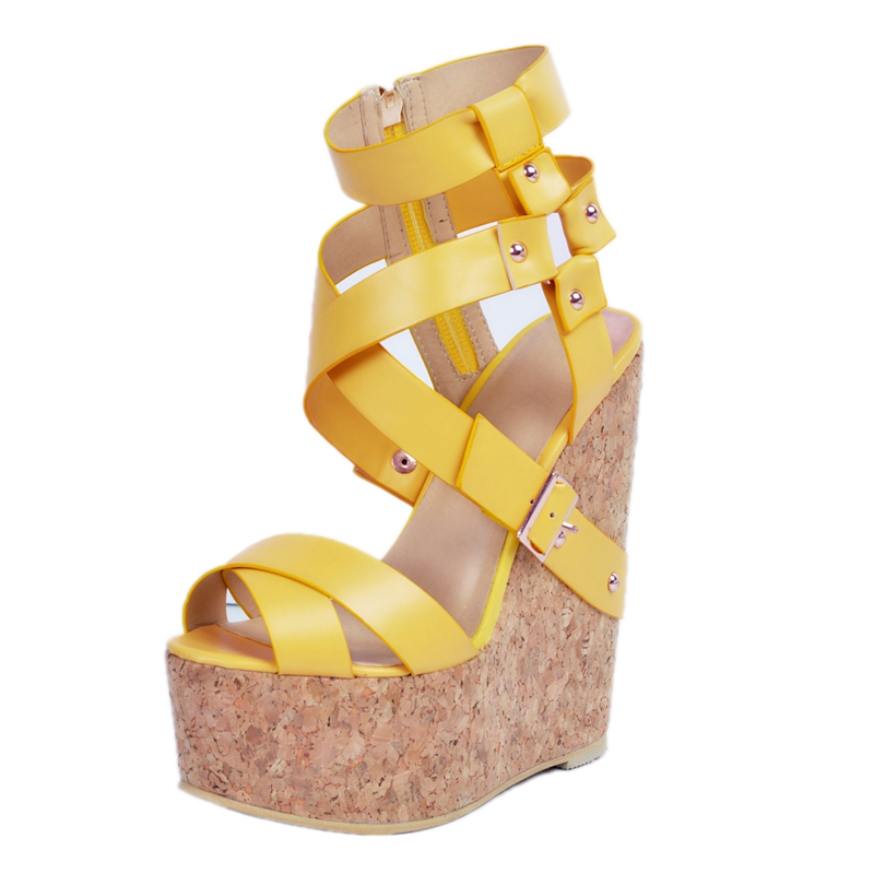 Yellow Pu Women Wedge Heels Open Toe Platform Sandals Women Ankle Wrap Summer Platform Ankle  Women Casual Shoes Ladies mudibear women sandals pu leather flat sandals low wedges summer shoes women open toe platform sandals women casual shoes