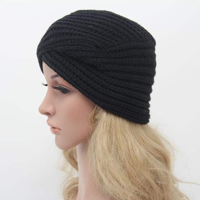 Online Shop Fashion Women Knitted Turban Hat India Plate Head Cap Autumn  Winter Keep Warm Cute Beanies Lady Girl Crochet Cross Hats  bf9bc44c206