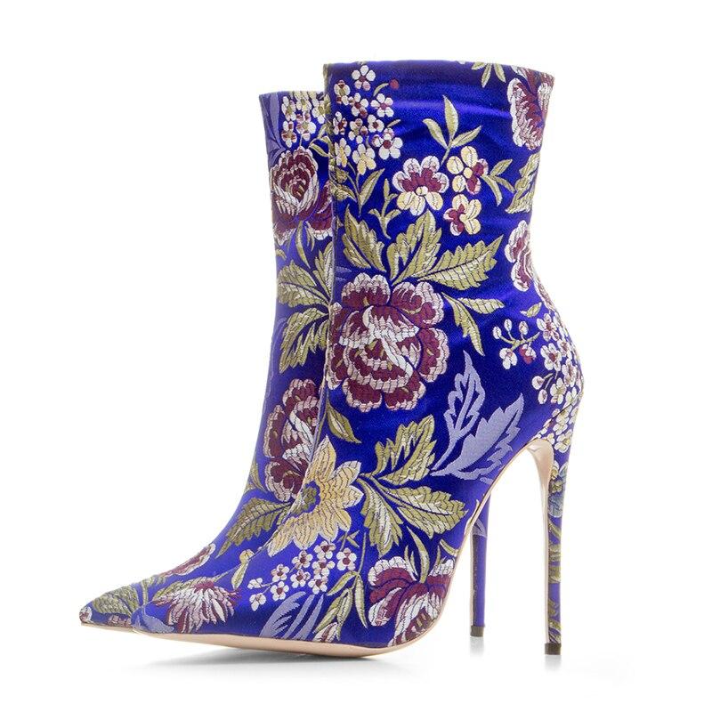 Brodé Femme La Talons Taille vert 43 D'hiver Mode Bleu yellow Éclair Floral Cheville Bout Cm Pointu Fermeture Grande Chaussures 33 Hauts Bottes Sexy Kcenid À 12 7Zq1wXS