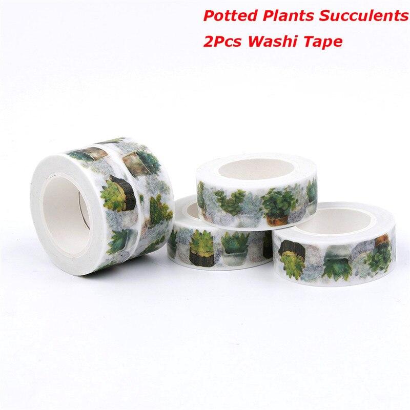 2Pcs Potted Plants Succulents Decoration Japanese Decorative Washi Tape DIY Scrapbooking Masking Tape School Office Supply