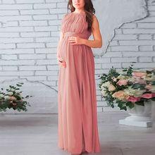 e939fdb3933df2 Elegant Zwangerschap Jurk Mouwloze Geplooide Roze Moederschap Jurken voor  Fotoshoot Wedding Party Lange Jurk voor Zwangere Vrouw.
