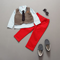 2-7T Baby Boys Autumn Gentleman Clothing Set Baby Kids Button Clothing Sets Babe Vest + T-shit + Pant 3-Piece Suit Set