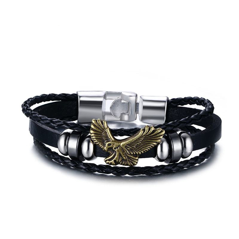 Men Trendy Leather Woven Rope Bracelet Eagle Pattern Hand Accessories Caribbean Rudder Bracelet Male Fashion Zinc Alloy Bangles