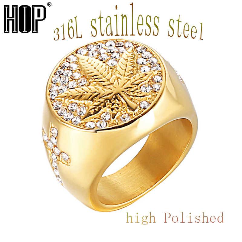 ad51bc7c7ad5 Detalle Comentarios Preguntas sobre HIP Hop helado Bling Color oro anillo  de acero inoxidable Micro pavé de diamantes de imitación de hierba de hoja  de arce ...