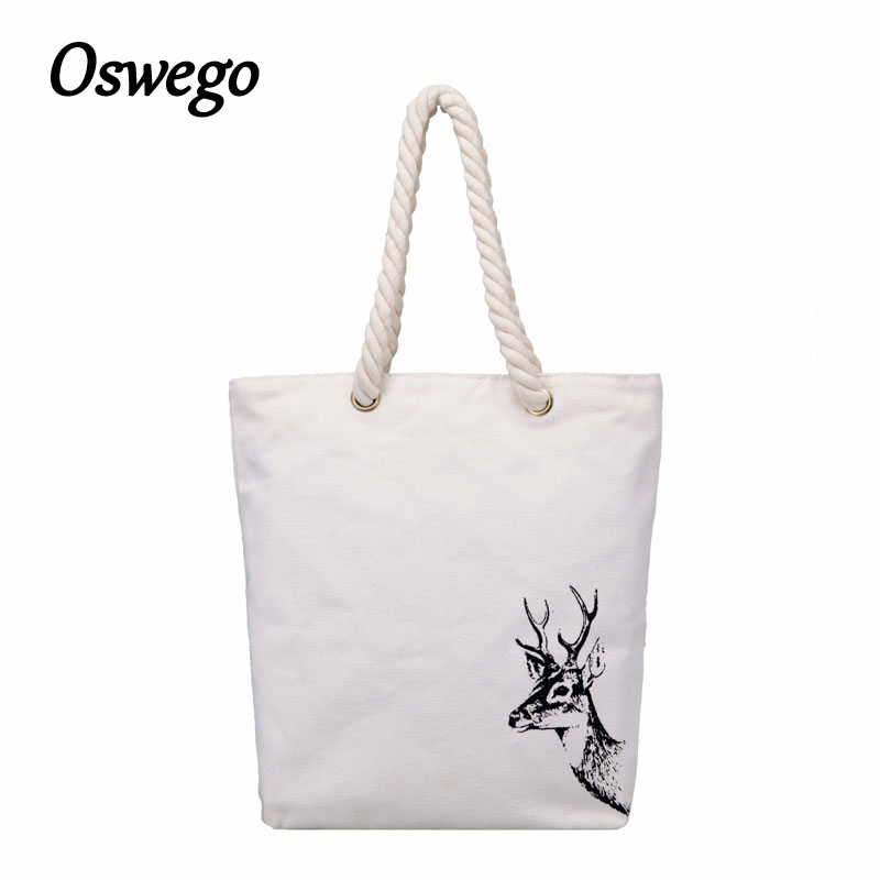 Oswego Female Shoulder Bag Canvas Soft Zipper Flower Animale Prints Bucket Casual Lady Teenager Student School Bag Girl Handbag