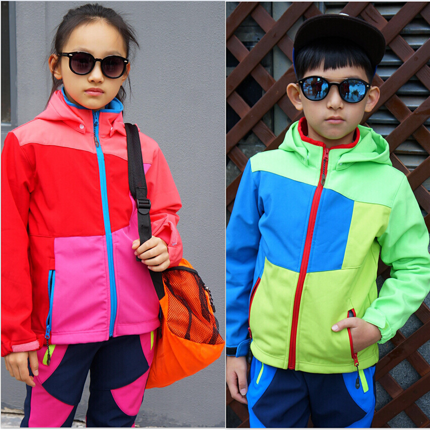Waterproof Windproof Boys Girls Warm Kids Clothes Set Children Outerwear Polar Fleece Sporty Soft Tracksuit For 2-10 Years Old