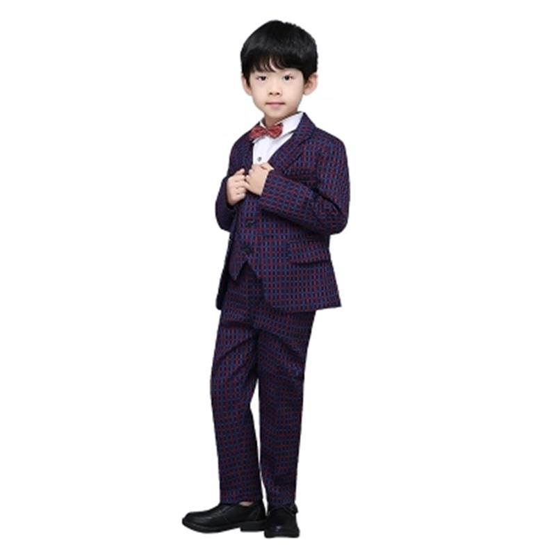 Spring autumn boys wedding costume formal blazer suits england style boys prom vest blazer suit children clothing Plaid set blazer georgede blazer