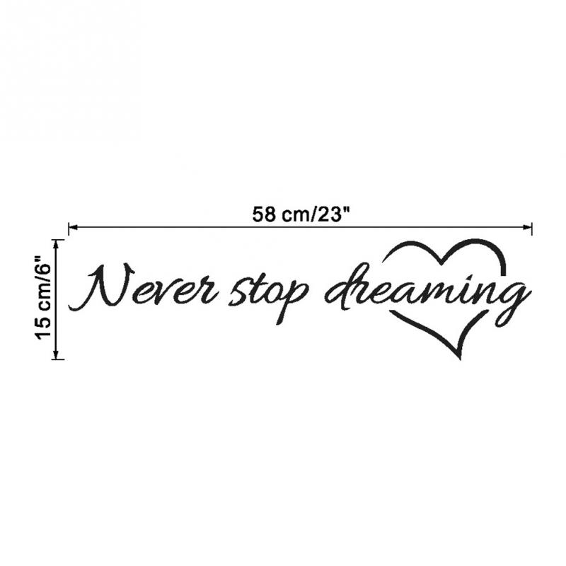 Inspiration quote words Never Stop Dreaming Love Heart home bedroom decor removable wall sticker
