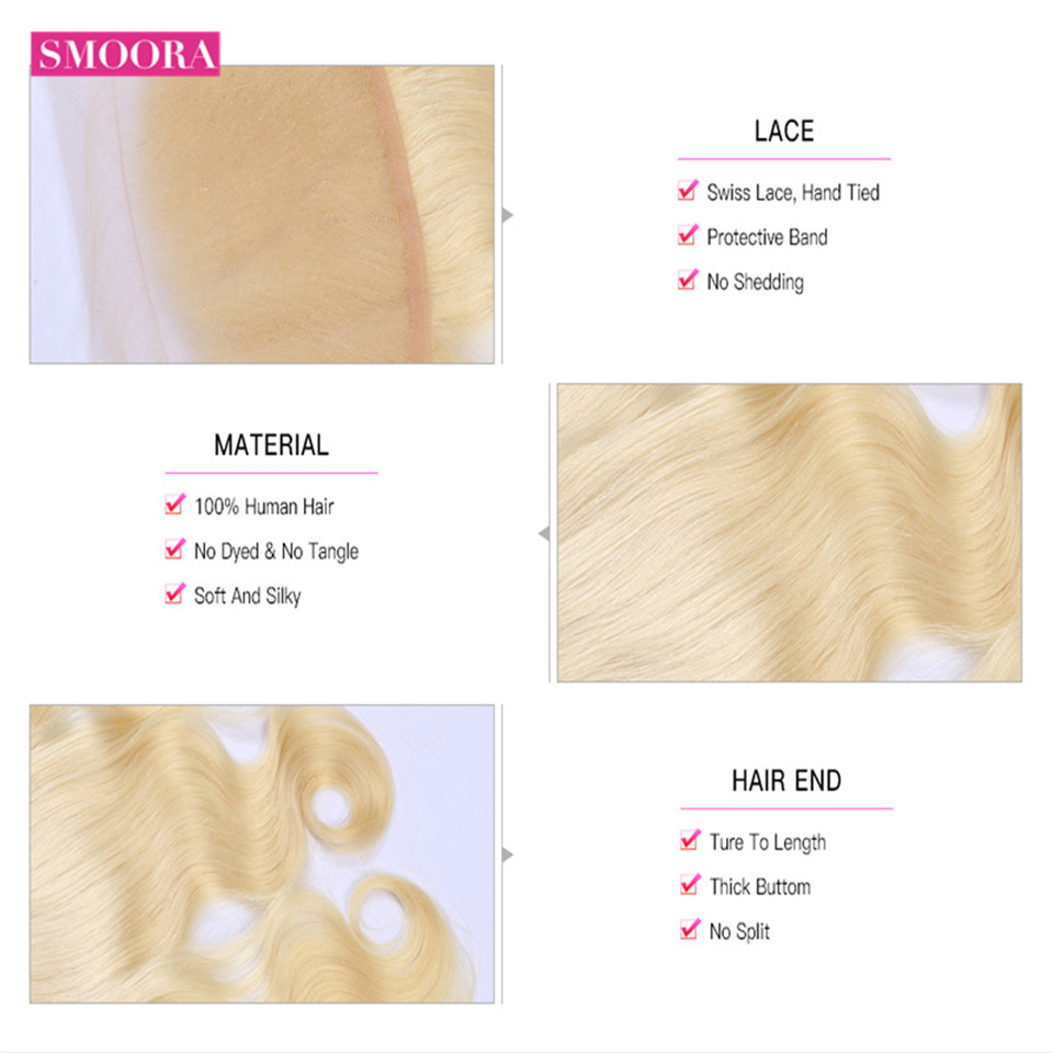 Smoora 613 Blonde Bundles with Frontal Peruvian Body Wave Blonde Human Hair Bundles with Pre Plucked Frontal Ear to Ear Non Remy