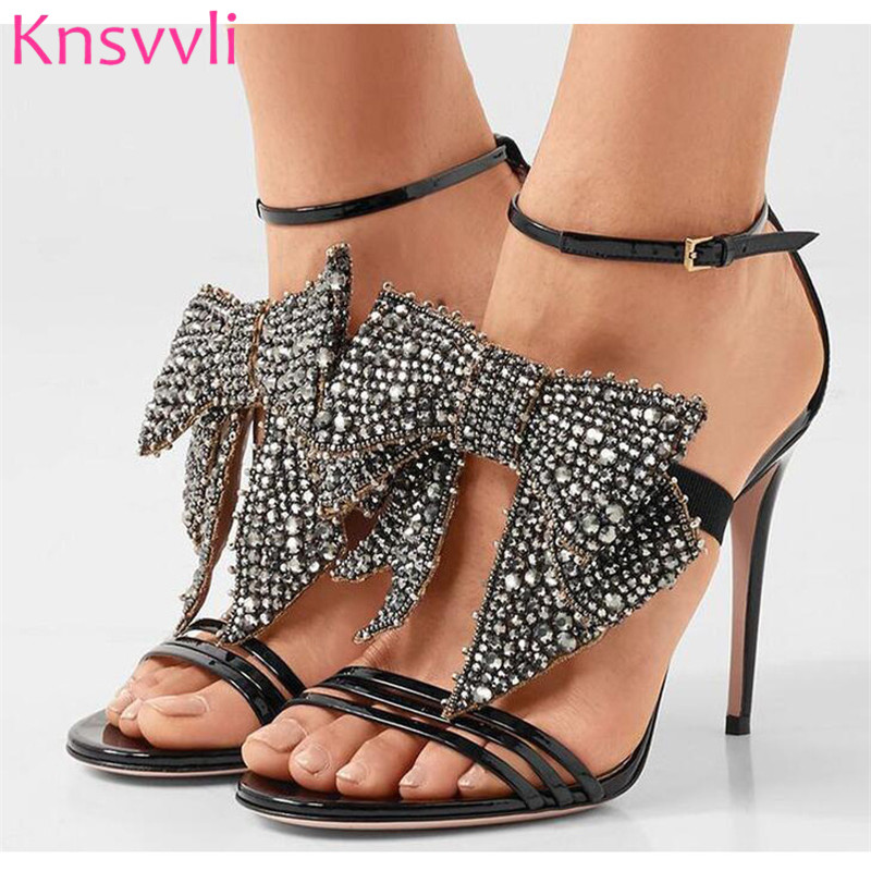 Knsvvli Luxury Crystal Butterfly Knot Women Runway Sandals Patent Leather High Heels Summer Shoes Woman Sexy Party Prom SandalsKnsvvli Luxury Crystal Butterfly Knot Women Runway Sandals Patent Leather High Heels Summer Shoes Woman Sexy Party Prom Sandals