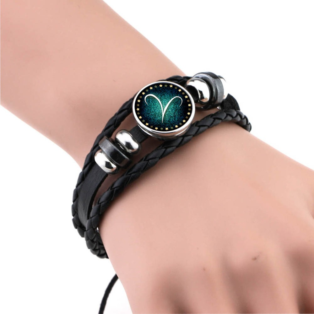 Men Women Braided Leather Bracelets & Bangles 12 Constellation Bracelet 2017 New Style Jewelry For Women Femme Gift Wholesale