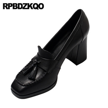 Vintage Size 4 34 2018 Women Pumps Shoes Chunky Black Retro Genuine Leather Fringe Square Toe High Heels Oxford Italian Brown