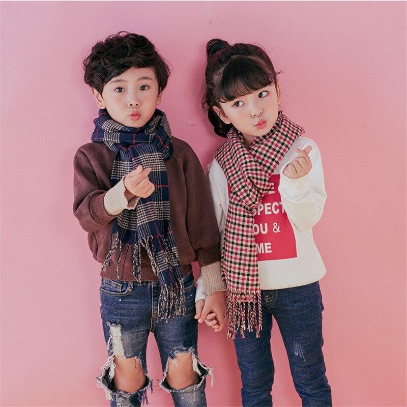 TagerWilen Unisex Cashmere Long Scarf Boys Winter Soft Shawls Girls Plaid Luxury Brand Tassel Pashmina Students Children Scarves