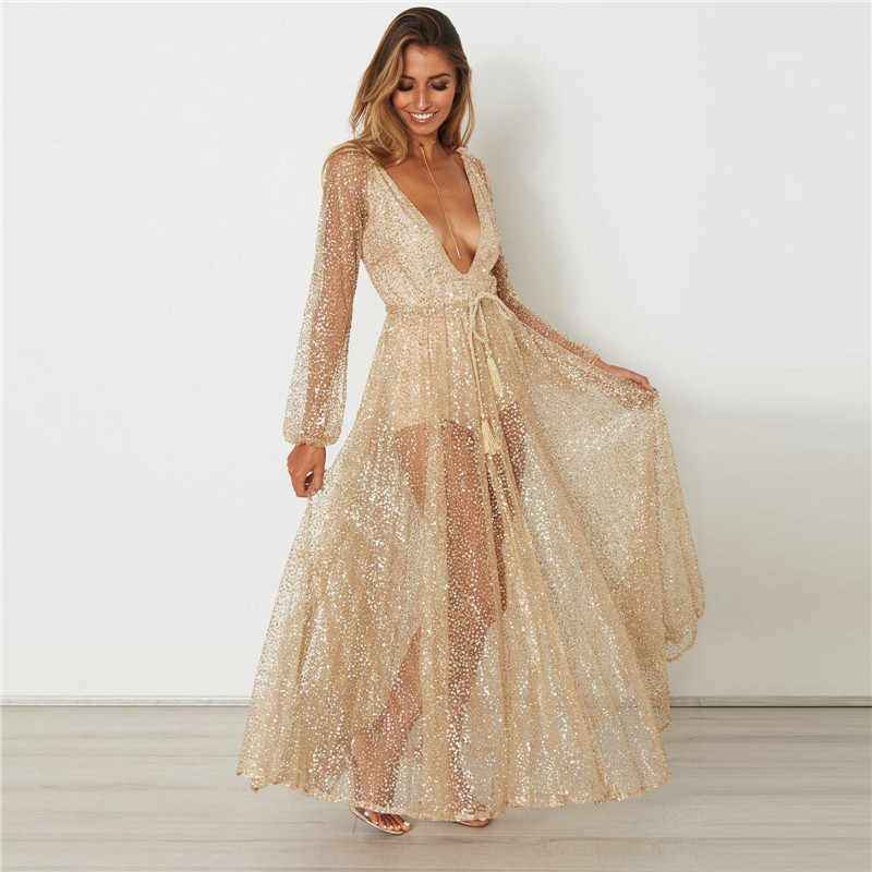 af9c870584689 ... New Sexy Women Long Lantern Sleeve Sequined V-neck Boho Long Maxi Dress  High Waist ...