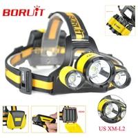 BORUiT B17 LED Headlamp 10000LM 3 LED XM L2 Rechargeable Headlamp Fishing 4 Modes Camping Head Lamp Cycling Headlight Flashlight