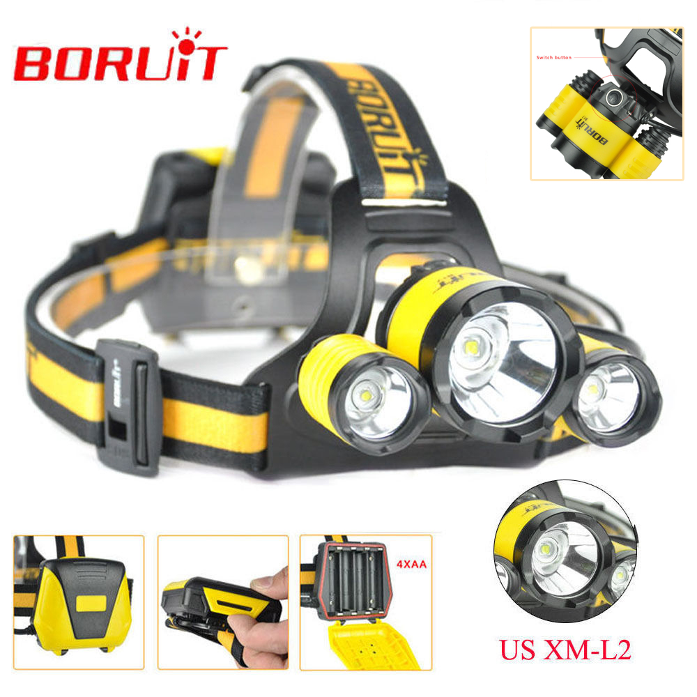 BORUiT B17 LED Headlamp 10000LM 3 LED XM-L2 Rechargeable Headlamp Fishing 4 Modes Camping Head Lamp Cycling Headlight Flashlight fenix hp25r 1000 lumen headlamp rechargeable led flashlight