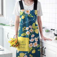 Long Floral Cotton Linen Apron Kitchen Cooking Baking Painting Gardening Drawing Work Wear Barista Bistro Catering Uniform D75